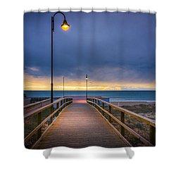 Nighttime Walk. Shower Curtain