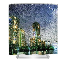 Tokyo River Shower Curtain by Daisuke Kondo