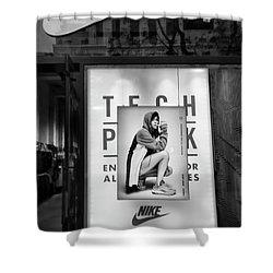 Nike Display Street Photo Black Retail Store  Shower Curtain