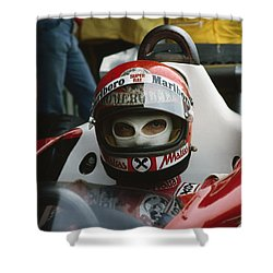 Niki Lauda. 1977 Austrian Grand Prix Shower Curtain
