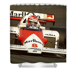 Niki Lauda. 1984 Dutch Grand Prix Shower Curtain