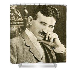 Nikola Tesla, Serbian-american Inventor Shower Curtain by Photo Researchers
