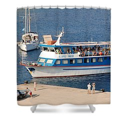 Nikos Express Ferry At Halki Shower Curtain