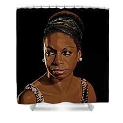 Nina Simone Painting 2 Shower Curtain by Paul Meijering