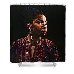Nina Simone Painting Shower Curtain by Paul Meijering