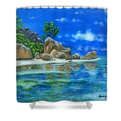 Shower Curtain featuring the painting Nina's Beach by Amelie Simmons