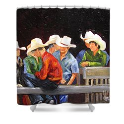 Nine Cowboys On A Fence Shower Curtain