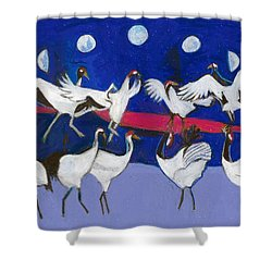 Shower Curtain featuring the painting Nine Dancing Cranes by Denise Weaver Ross