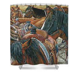 Shower Curtain featuring the painting Nine Saddled by Nadi Spencer