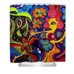 Shower Curtain featuring the painting Joyful by Marina Petro