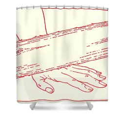 Shower Curtain featuring the drawing Ninth Station- Jesus Falls The Third Time by William Hart McNichols