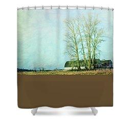 Shower Curtain featuring the photograph Nisqually Barns by Jean OKeeffe Macro Abundance Art