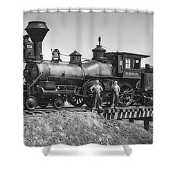 No. 120 Early Railroad Locomotive Shower Curtain by Daniel Hagerman