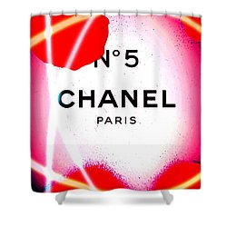 No 5 Pink Shower Curtain by Daniel Janda