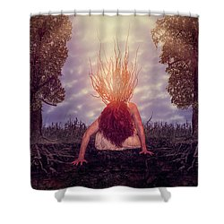 Shower Curtain featuring the digital art No Earthly Roots by Nicole Wilde
