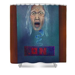 Shower Curtain featuring the painting No Entry Into Heaven by Albert Puskaric
