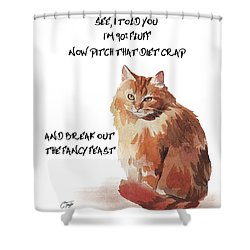 No Fat Cat Shower Curtain