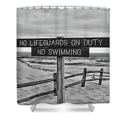 No Lifeguards On Duty Black And White Shower Curtain by Paul Ward