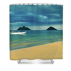 Shower Curtain featuring the photograph No Man Is An Island by Kristine Merc
