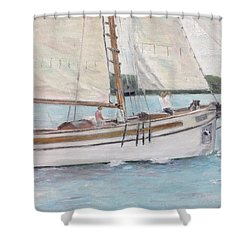 Shower Curtain featuring the painting Bugeye by Stan Tenney