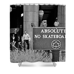 No Skateboarding Shower Curtain by Brian Wallace