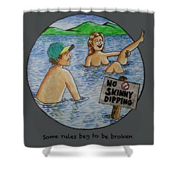 No Skinny Dipping Shower Curtain