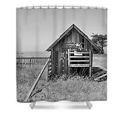No Spring Chicken In Black And White Shower Curtain