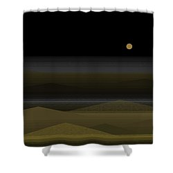 No Swimming After Dark Shower Curtain by Val Arie