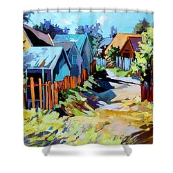 Shower Curtain featuring the painting No Through Road by Rae Andrews