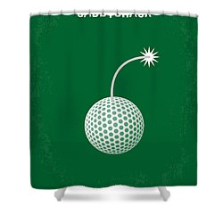 No013 My Caddy Shack Minimal Movie Poster Shower Curtain by Chungkong Art