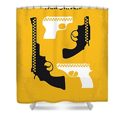 No087 My Taxi Driver Minimal Movie Poster Shower Curtain by Chungkong Art