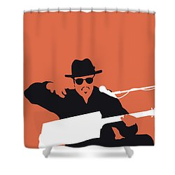 No103 My Bo Diddley Minimal Music Poster Shower Curtain