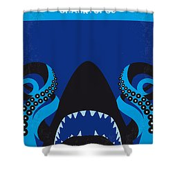 No485 My Sharktopus Minimal Movie Poster Shower Curtain by Chungkong Art
