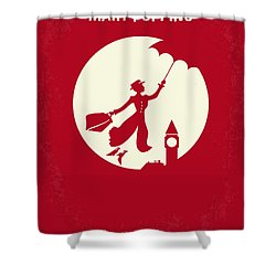 No539 My Mary Poppins Minimal Movie Poster Shower Curtain by Chungkong Art