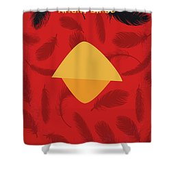 No658 My Angry Birds Movie Minimal Poster Shower Curtain