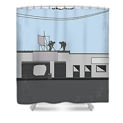 No715 My Clerks Minimal Movie Poster Shower Curtain by Chungkong Art