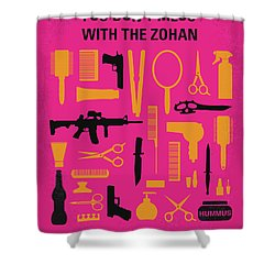 Shower Curtain featuring the digital art No743 My You Dont Mess With The Zohan Minimal Movie Poster by Chungkong Art