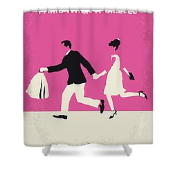 No785 My Paris When It Sizzles Minimal Movie Poster Shower Curtain