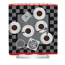 No808 My Coffee And Cigarettes Minimal Movie Poster Shower Curtain
