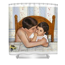 Shower Curtain featuring the painting Noah Takes Time For Kira by Marlene Book