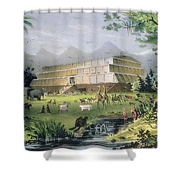 Noahs Ark Shower Curtain by Currier and Ives