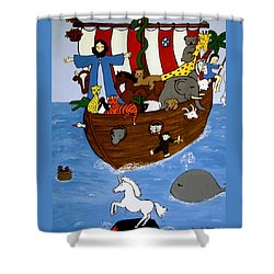 Shower Curtain featuring the painting Noah's Ark by Stephanie Moore