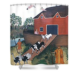 Noah's Ark Two Shower Curtain by Linda Mears