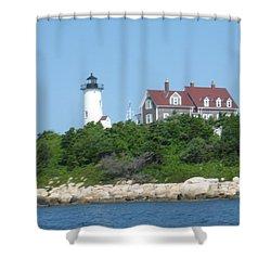 Nobska Point Lighthouse Shower Curtain by Donna Walsh