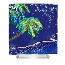 Shower Curtain featuring the painting Noche Tropical by The Art of Alice Terrill