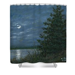 Nocturne In Blue Shower Curtain by Kathleen McDermott