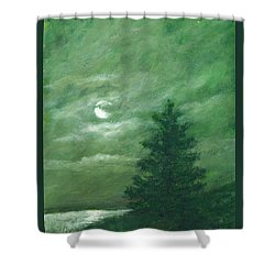 Nocturne In Green Shower Curtain by Kathleen McDermott