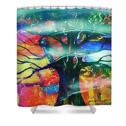 Shower Curtain featuring the mixed media Noel by Fania Simon