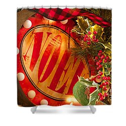 Noel Sign Shower Curtain by Vinnie Oakes