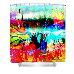 Shower Curtain featuring the mixed media Noel Tree by Fania Simon